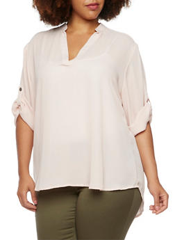Plus Size Blouse with Tabbed Sleeves - BLUSH - 3803051066873