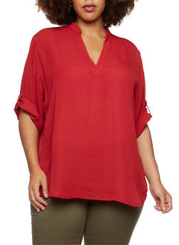 Plus Size Blouse with Tabbed Sleeves - 3803051066873