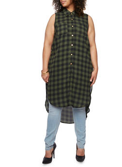 Plus Size Plaid Maxi Top with Side Slits - OLIVE - 3803051066875