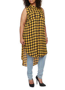 Plus Size Plaid Maxi Top with Side Slits - MUSTARD - 3803051066875