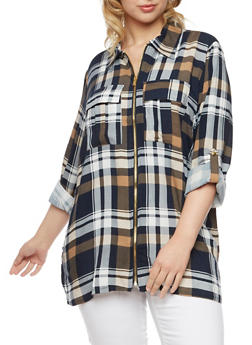 Plus Size Plaid Top with Zip Front - 3803051066878