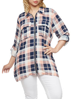 Plus Size Plaid Top with Zip Front - PINK - 3803051066878