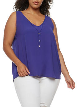 Plus Size Solid Tank Top - 3803051066880