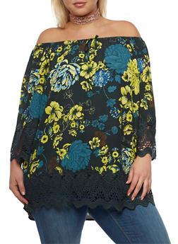 Plus Size Crochet Trim Off the Shoulder Top - 3803051066926