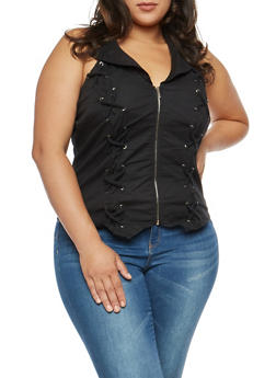 Plus Size Collared Lace Up Zip Front Top - 3803051066947