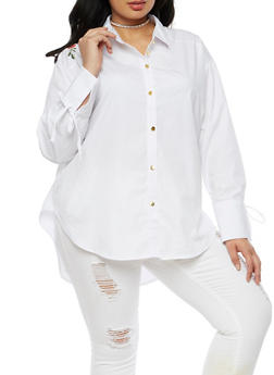 Plus Size Button Front Shirt with Embroidered Detail - 3803051066950