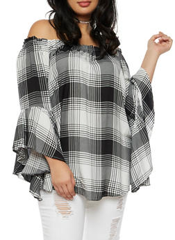 Plus Size Plaid Off the Shoulder Peasant Top - BLACK/WHITE - 3803051066955