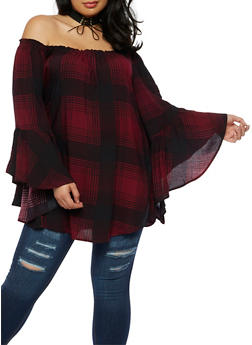 Plus Size Plaid Off the Shoulder Peasant Top - 3803051066955