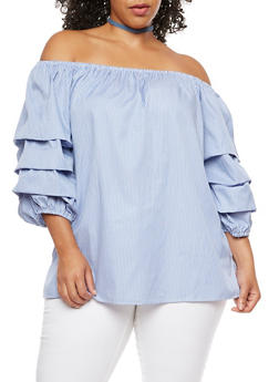 Plus Size Striped Tiered Sleeves Off the Shoulder Top - 3803051066970