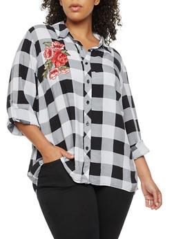 Plus Size Plaid Button Front Top with Floral Applique - 3803051066974