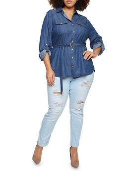Plus Size Denim Button Up Top with Belt - 3803051067057