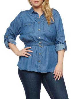 Plus Size Denim Button Up Top with Belt - INDIGO - 3803051067057