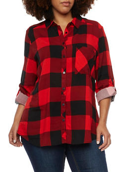Plus Size Plaid Button Front Top - BLACK/RED - 3803051067404