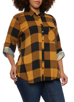 Plus Size Plaid Button Front Top - MUSTARD - 3803051067404