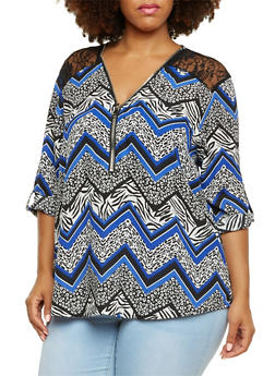 Plus Size Top with Lace Paneling and Zip V-Neck - 3803051068089