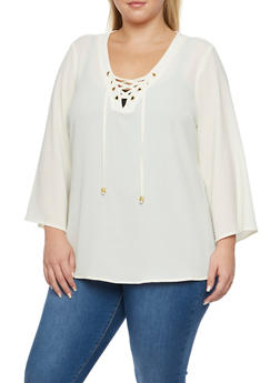 Plus Size Lace Up Bell Sleeves Top - IVORY - 3803051068363