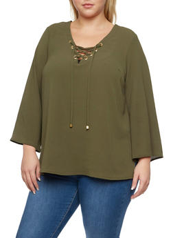 Plus Size Lace Up Top with Bell Sleeves - OLIVE - 3803051068363