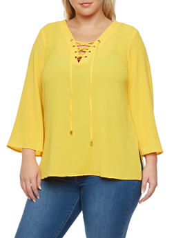 Plus Size Lace Up Bell Sleeves Top - MUSTARD - 3803051068363