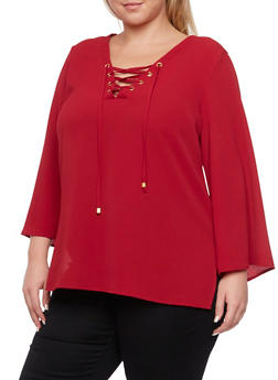 Plus Size Lace Up Bell Sleeves Top - BURGUNDY - 3803051068363