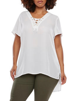 Plus Size Chiffon Tunic Top with Lace-Up V-Neck - IVORY - 3803051068647