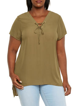 Plus Size Chiffon Tunic Top with Lace-Up V-Neck - OLIVE - 3803051068647