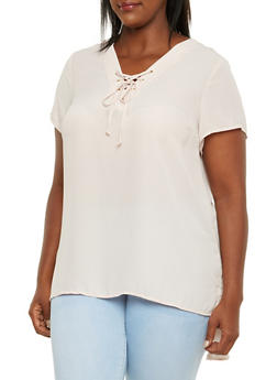 Plus Size Chiffon Tunic Top with Lace-Up V-Neck - BLUSH - 3803051068647