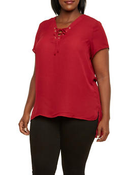 Plus Size Chiffon Tunic Top with Lace-Up V-Neck - BURGUNDY - 3803051068647