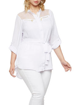 Plus Size Chiffon Tunic with Mesh Lace Paneling - 3803051068653