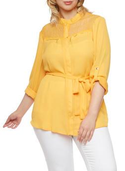 Plus Size Chiffon Tunic with Mesh Lace Paneling - MUSTARD - 3803051068653