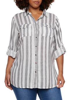 Plus Size Striped Shirt with Side Slits - 3803051068673