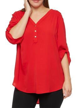 Plus Size Tunic Top with Metallic Shoulder Accents - 3803051068687