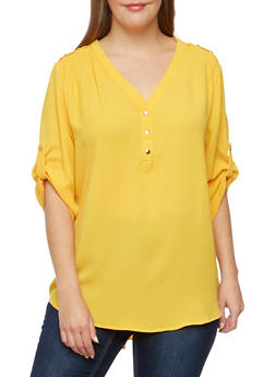 Plus Size Tunic Top with Metallic Shoulder Accents - MUSTARD - 3803051068687