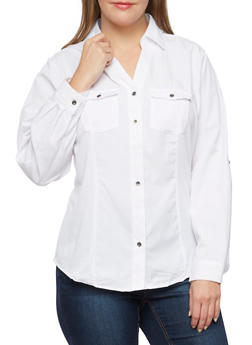 Plus Size Striped Shirt with Rib Knit Insets - WHITE - 3803051068712