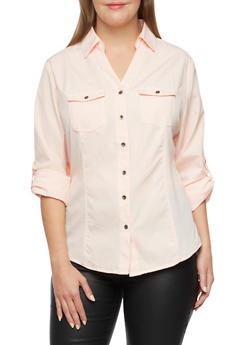 Plus Size Striped Shirt with Rib Knit Insets - BLUSH - 3803051068712