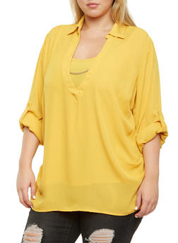 Plus Size Blouse with Removable Necklace - 3803051068716
