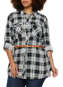 Plus Size Plaid Button Up Tunic Top with Belt - 3803051068902