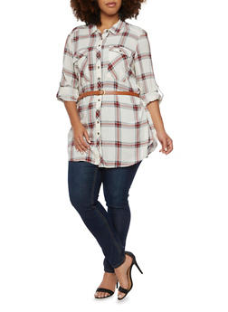 Plus Size Plaid Button Up Tunic Top with Belt - IVORY - 3803051068902