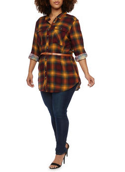 Plus Size Plaid Button Up Tunic Top with Belt - MUSTARD - 3803051068902