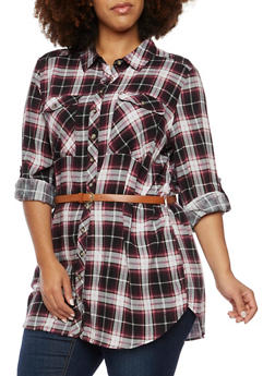 Plus Size Plaid Button Up Tunic Top with Belt - BURGUNDY - 3803051068902
