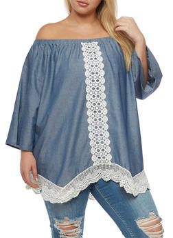Plus Size Denim Knit Off the Shoulder Top - 3803051069383