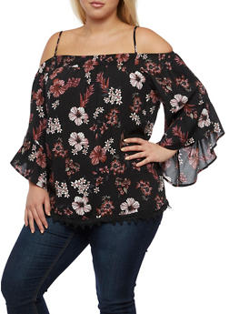 Plus Size Smocked Neck Off the Shoulder Top - 3803051069396