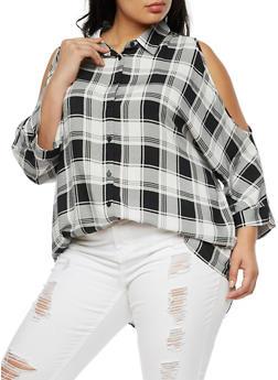 Plus Size Plaid Long Sleeve Cold Shoulder Top - BLACK/WHITE - 3803051069415
