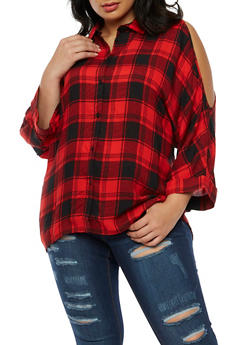 Plus Size Plaid Long Sleeve Cold Shoulder Top - 3803051069415