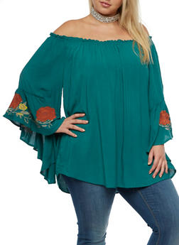 Plus Size Peasant Top with Bell Sleeves - TEAL - 3803051069450