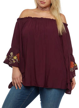 Plus Size Peasant Top with Bell Sleeves - 3803051069450