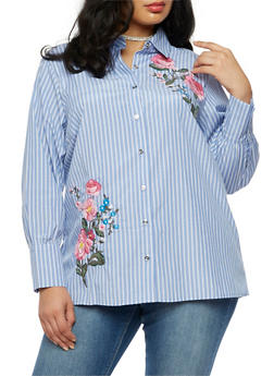 Plus Size Long Sleeve Striped Button Down Embroidered Shirt - 3803051069497