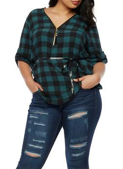 Plus Size Crepe Knit Plaid Top - 3803051069549