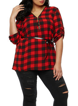 Plus Size Crepe Knit Plaid Top - 3803051069549