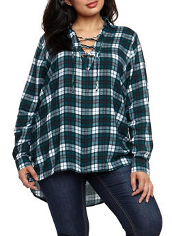 Plus Size Plaid Lace Up High Low Top - 3803051069610