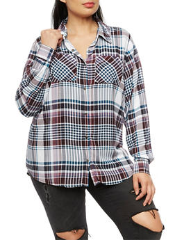 Plus Size Plaid Button Front Top - 3803051069690